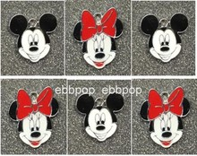 New 20pcs cartoon Mickey minnie head Enamel Metal Charm Pendants DIY Jewelry Making Mobile Phone Accessories M01(China)