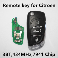 Remote Key for Citroen C4 DS DS4 DS5 Car Keyless Entry Control 3 Buttons HELLA 434Mhz 7941 Chip