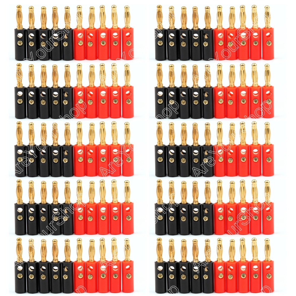 Hot Sale 100 Pcs High Quality 4mm Banana Plug Gold Plated Red Black Length 40mm Connector<br><br>Aliexpress