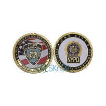 5pcs/lot Newest arrival fashion NYPD gold coin metal craft Unite states New York police department challenge coins collectibles(China)