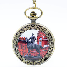 Red Square Moscow The Russian Federation Equestrian Statue Of Marshall Zhukov Quartz Pocket Watch Analog Necklace Mens Womens