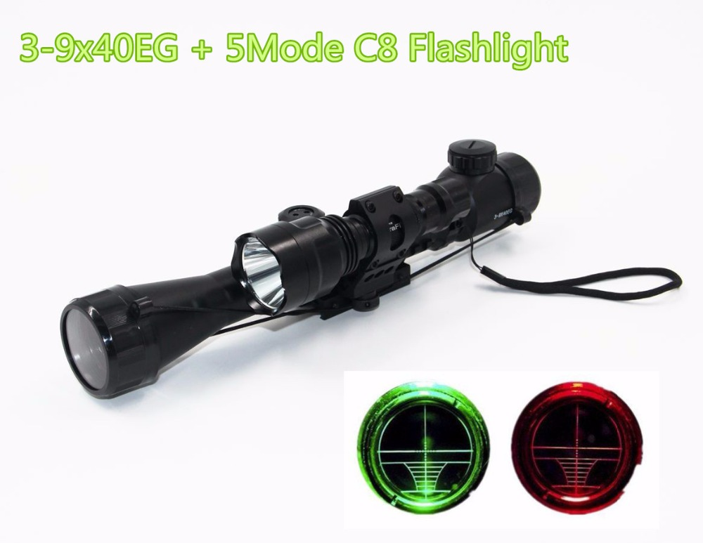 Illuminated 3-9x40EG Rifle Scope + CREE T6 LED Hunting Flashlight 5Mode C8 Torch Flash Light for Riflescope Hunting<br><br>Aliexpress