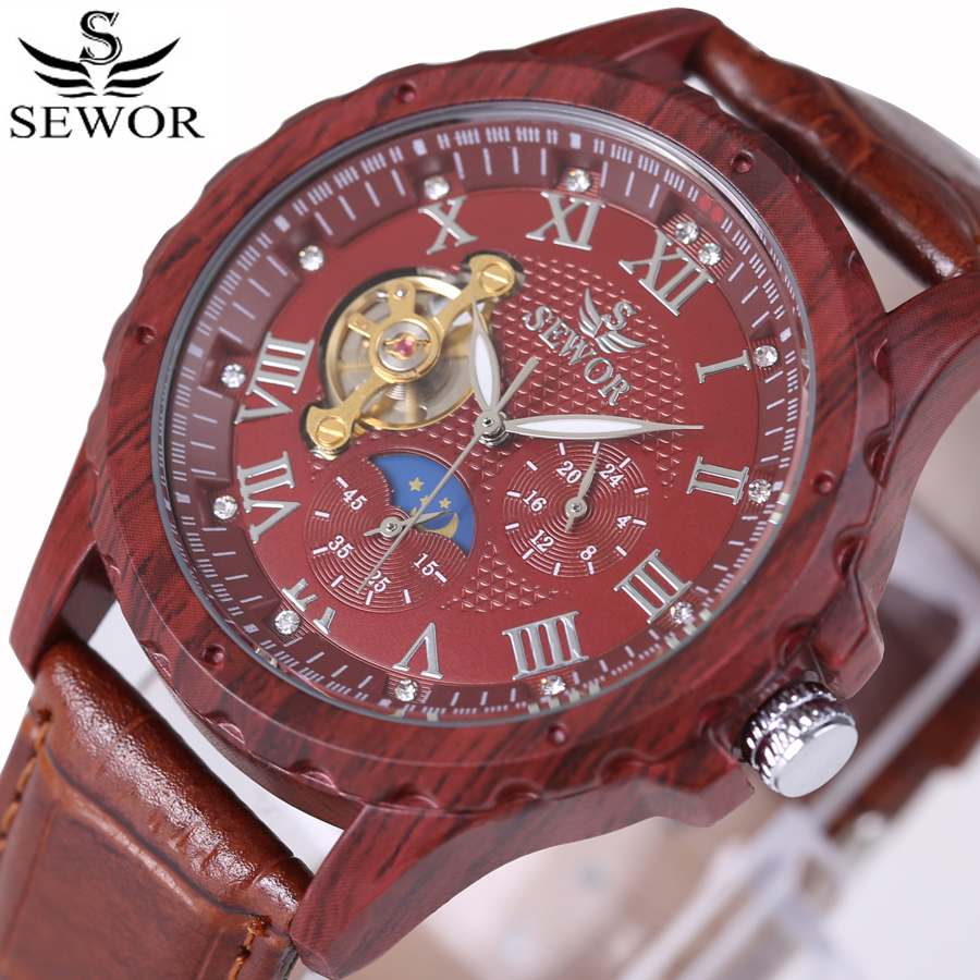 Luxury Brand Simulation Wooden Tourbillon Mechanical  Men Watches Casual Wood Clock Genuine Leather Strap Watch Male Relogio<br>