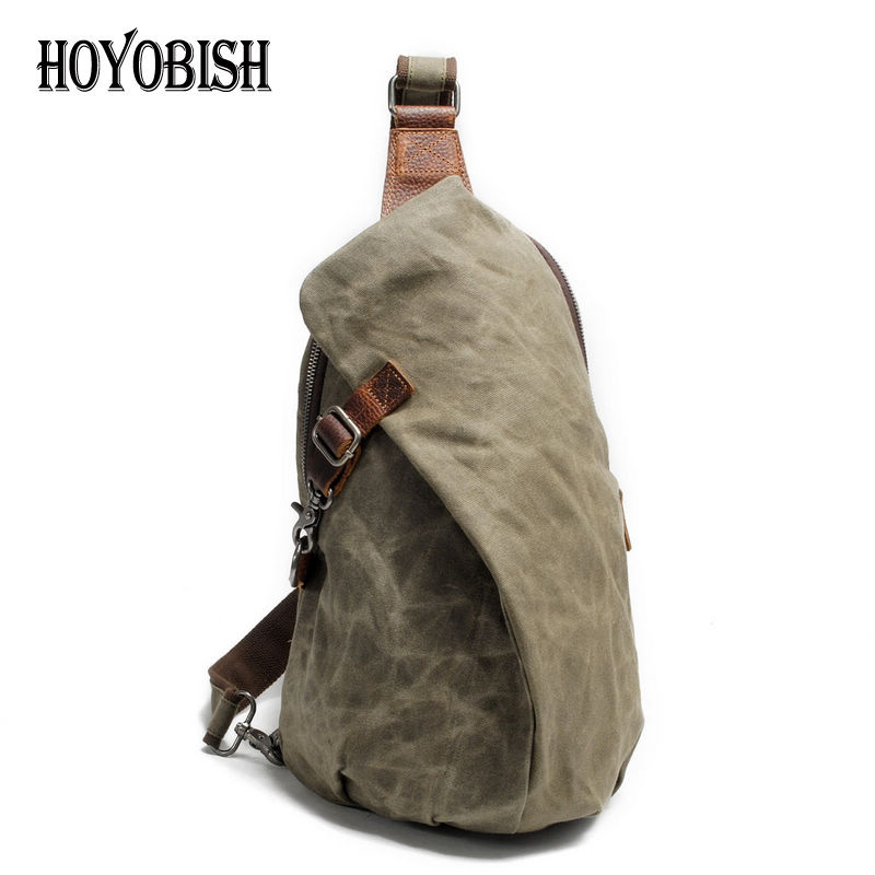 HOYOBISH Anti Theft Canvas Men Chest Bag Casual Travel Crossbody Bag Messenger Bags Waterproof Men Shoulder Strap Pack Bag OH014<br>