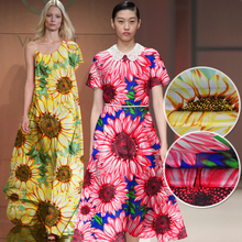 Fashion Thin 100%Pure Silk Chiffon Printed Sunflower Fabric Material Yarn Textile For Sew One-piece Dress Scarf 6M/M Yellow Red