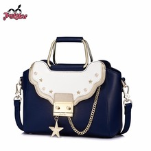 JUST STAR Women's Leather Handbags Ladies Fashion Lock Five Star Rivet Tote Purse Female Leisure Chains Patchwork Messenger Bags(China)
