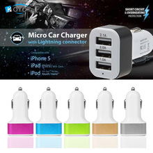 Hot!! Triple Universal USB Car Charger Adapter 5V 3 Port 2.1A 2.0A 1.0A For iPhone ipad Samsung xiaomi huawei meizu Zte Oppo HTC