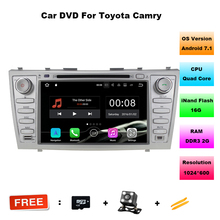 Quad core 1024*600 HD 2din Android7.1 car dvd player For CAMRY2007-11 auto radio double din with Mirror-link Bluetooth OBD2 DVBT(China)