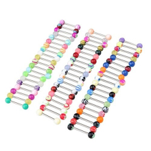 60 Pcs Mixed Color Ball Barbell Bar Nipple Tongue Ring Body Piercing Jewelry
