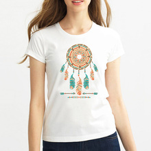 Buy Free 2017 fashion summer women t shirts Indian feather print short sleeve t-shirt women brand clothing tops tees for $4.20 in AliExpress store