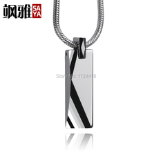 Custom Shiny Polished Engraved Men's Tungsten Pendant Necklace 2.5mm Thick Snake Chain Cool Designer Pendant Jewelry