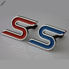 Black Blue Red Chrome Metal S Car Grill Stickers Car-styling Decorations for Exploror Escort Kuga Mustang Fiesta eco sport(China)