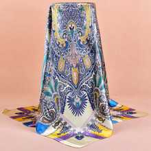 90*90cm Hot Sale Satin Scarf Printed For Spring,Summer,Autumn,Winter 2017 New Design Women Polyester Silk Big Square Silk Scarf