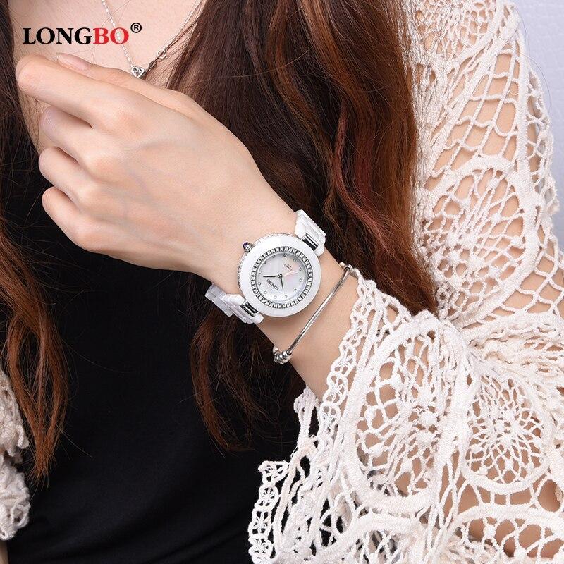 Ceramic Watches Women Luxury Brand LONGBO Crystal Mother Pearl Dial Unique Design Waterproof Quartz Wristwatches montres 6119<br>