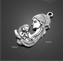 High Quality 30 Pieces/Lot 36.4mm*19.7mm Jewelry Handmade Antique Silver Plated Mother and Baby Love Baby Charms Pendants