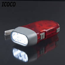 ICOCO 3 LED Hand Pressing Dynamo Crank Power Wind Up Flashlight Torch Light Hand Press Crank Camping Lamp Light