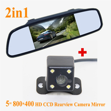 Promotion For Wholesale 5 inch TFT LCD Rear View Car Mirror Monitor + HD CCD Car Rear View Camera for Rearview Mirror(China)