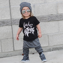 Kid Children Summer Clothes For Boys Cotton Short-Sleeve Shirt+Pant 2PCS English Letter Pattern Boys Suit Set