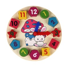 Wooden 12 Number Colorful Puzzle Digital Geometry Clock Baby Educational Wooden Clock Toy Kids Children Toys Gifts(China)