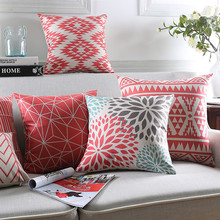 Maiyubo Red Floral Pattern Cushion Cover Modern Bohemia Decorative Throw Pillow Cases Chair Seat Pillow Covers for Couches PC549(China)