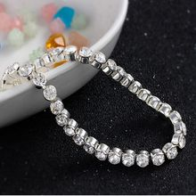 1 Pc 2017 Newest Women Shiny Silver Bracelets Charm Austria Crystal Cuff Bangles Fashion Jewelry Best Gift For Women(China)