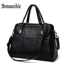 Bonsacchic Fashion Ladies Hand Bag Women's Genuine Leather Handbag Black Leather Tote Bag Bolsas femininas Female Shoulder Bag(China)