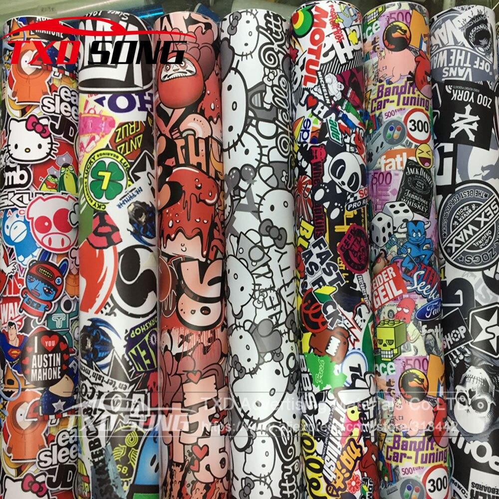 Baru matt printing bom vinyl stiker pada mobil diy graffiti sticker bom bungkus stiker mobil sepeda