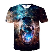 2017 Fashion Men 3D Printing Galaxy Space T-shirt Causal O-Neck Short Sleeves Clothing for Male Star Sky And Bear Tee Shirt