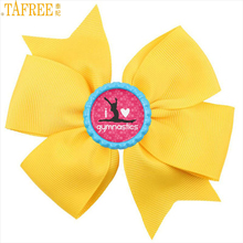 TAFREE Brand I Love Gymnastics bow hairgrips sports silhouette art bottle cap bowknot hair clips women girls jewelry gifts NS558