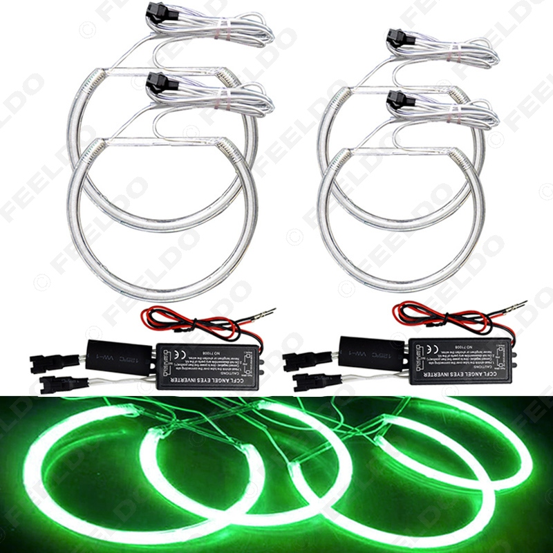 2X 146mm 2X 131.5mm Green Car CCFL Halo Rings Angel Eyes LED Headlights for BMW E46(NON projector) Light Kits #FD-4174<br><br>Aliexpress
