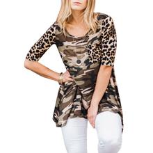 Fall 2017 Fashion Women Blouse Camouflage O-Neck Half Sleeve Casual Shirts Streetwear Punk Fashion Leopard Women Tops(China)