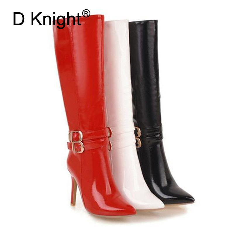 10CM Extreme High Heels Boots Fashion Pole Dancing Knee-High Boots Side Zip Ladies Knee Boots Plus Size 33-48 Woman Winter Shoes (4)