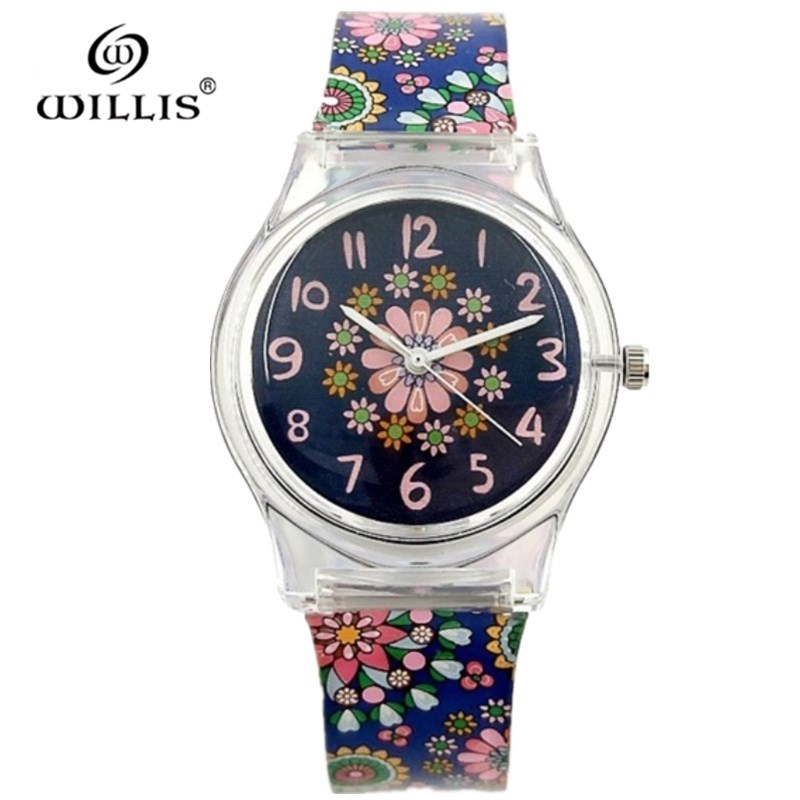 WILLIS Brand Women Waterproof Quartz Watches Retro Flowers Silicone Watch Fashion Ladies Leisure Clock Dress Watches