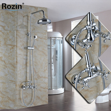 "Cheaper Wall Mounted Bathroom Shower Mixer Faucet Set Two Handle Brass Handshower 8"" Rainfall Shower Taps System"