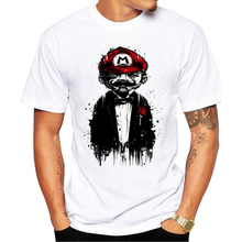 2017 New Arrivals Men T Shirt Super Mario Father Printed t-shirt Short Sleeve Casual Basic Tops Cool Melting Mario Tee Shirts