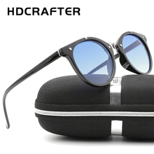 HDCRAFTER 2018 Luxury Cat eye Men Sunglasses Brand Designer Vintage Mirror Sun Glasses For Women Male Female Lady Sunglass(China)