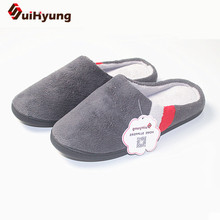 Winter New Men's Cotton Slippers Quality Coral Velvet Warm Indoor Shoes Non-slip Soft Bottom Shoes Home Floor Slippers Big Size(China)