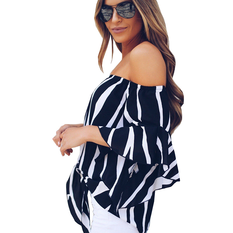 LOSSKY Women's Striped Chiffon Shirts Blouse Sexy Off Shoulders Bandage Women Casual Blusas Shirt 2018 Summer Loose Elegant Tops 12