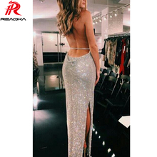 Buy Sexy Women Summer Metal Chain Crystal Diamond Luxury Club Party Dresses Maxi Halter Sleeveless Sequins Long Dress Vesitos 2018
