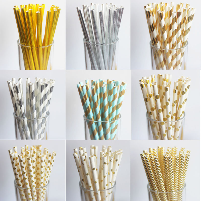 25pcs Metallic Gold Paper Straws Star Striped Birthday Wedding Decoration Baby Shower Party Foil Creative Drinking Straws Xmas