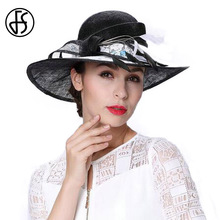 FS Summer Wide Brim Women Linen Fedora Hat Black White Bowknot Patchwork Beach Sun Ladies Formal Hats With Feather(China)