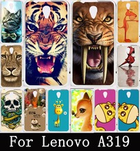 Best Selling Animal Pattern Lion Tiger Owl Painting Soft TPU Case for Lenovo A319 Cover Hard Plastic For Lenovo A319 Back Cover
