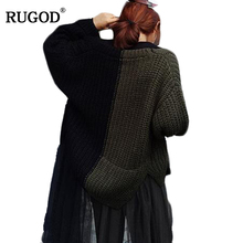 RUGOD 2017 New Army Green Black Color Blocking Cardigan Women Autumn Winter Loose Knitted Sweater Female Cardigan Slim Jackets(China)