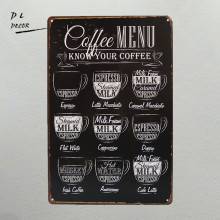 DL-CAFE MENU KNOW YOUR COFFEE TIN SIGN Old Wall Metal Painting ART Decor(China)