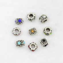 Handmade jewelry accessories DIY alloy silver point crystal bracelet beads retro flower factory direct perforation H119(China)