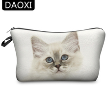 DAOXI 3D Printing Cute Cosmetic Bags White Cat Girls Protable Makeup Storage  YY10008