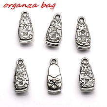MIC  20pcs  Antique Silver  Lovely Russian Dolls Charms pendants DIY Jewelry 8 x18 mm   (za318)