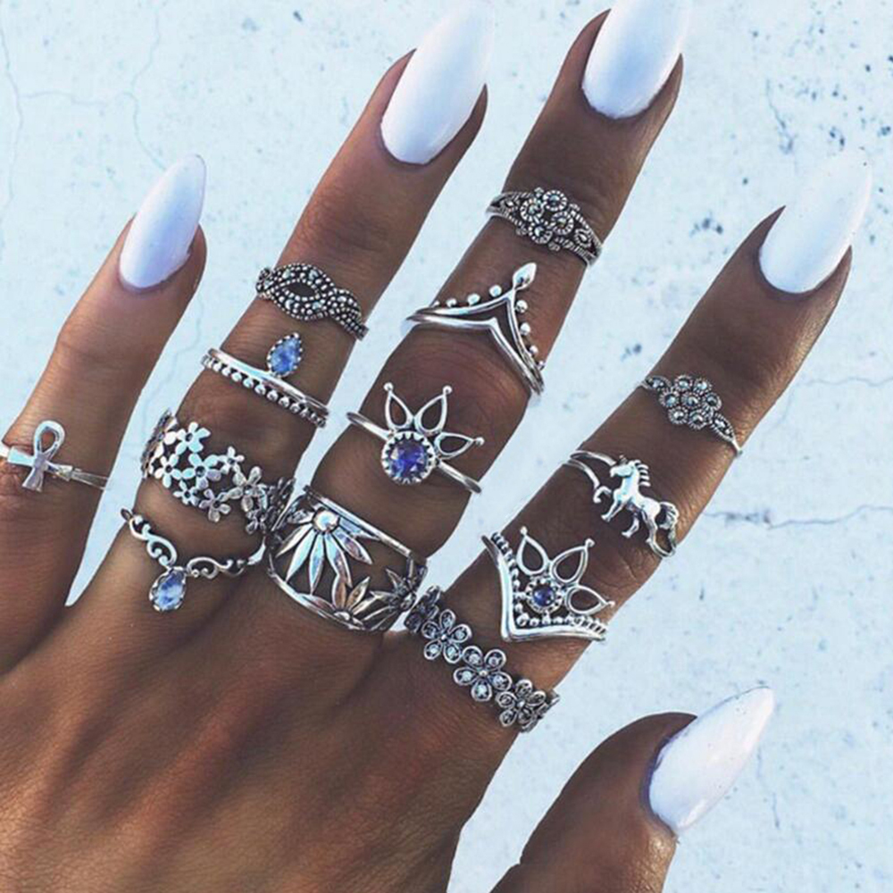 Vintage Knuckle Ring Set Boho Jewelry Style 10pcs-Set