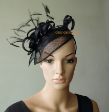 NEW Black sinamay feather fascinator hat  for hair accessory races wedding kentucky derby.