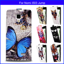 Factory price Fashion Patterns Cartoon Luxury Flip up and down PU Leather Case for Nomi i503 Jump,Free gift